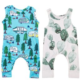 Wholesale Newborn Baby Rompers - Baby Rompers Cactus Forest Road Print Sleeveless Rompers Newborn Infant Baby Girls Boys Sleeveless Summer Clothes Jumpsuit Playsuits 3-18M