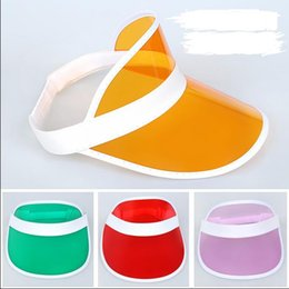 sun visor sunvisor party hat clear plastic cap transparent pvc sun hats  sunscreen hat Tennis Beach elastic hats d7c8d50b3334