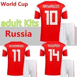 rusia uniformes de futbol Rebajas kit de hombres 2018 copa del mundo Rusia camisetas de fútbol 2018/19 Home uniforme de fútbol rojo Kokorin Dzyuba Smolov camisetas de fútbol