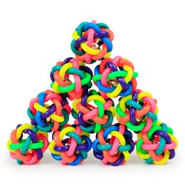 Wholesale Pet Plastic Material - Dog Toys Braided Rope Ball Chew Knot Toy Bell Pet Ball Rainbow Color Natural Rubber Material Toy Dog Accessories Small Size 5.5Cm