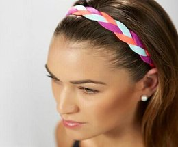 Wholesale Softball Braided Headbands - 2017 Free Shipping Softball Running Sports Braided Headbands Sweat Silicone Non Slip Grip Scrunchy Women Girl Soccer Yoga Elastic Hair Bands