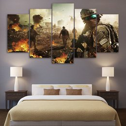 Wholesale battlefield poster - Living Room Wall decorative Painting 5 Panel Unframed Army battlefield soldier Pictures Canvas Print Wall Poster Modern ArtWork