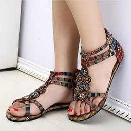 Wholesale Burgundy Sandals For Women - Summer Style Ethnic Women Sandals 2017 Bohemian Fashion Beading Pu Printed Casual Flats For Woman A7030801