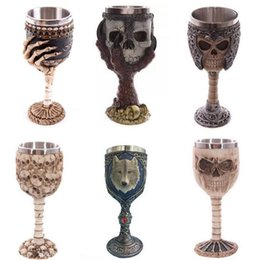 Wholesale Lenses Dragon - Wholesale- Personalized Double Wall Stainless Steel 3D Skull Mugs Coffee Cup Mug Skull Knight Tankard Dragon Drinking Cup Wine Glasses
