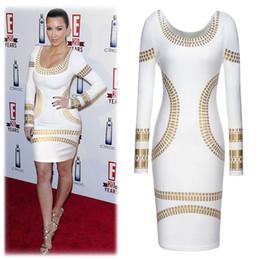 Wholesale Kim Kardashian Peplum Dresses - 2017 Spring Summer Best Selling Sexy Fashion Printed Kim Kardashian Celebrity Same Style Scoop-Neck Bodycon Long Sleeves Pencil Dress