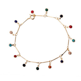 """Wholesale Halloween Costumes For Womens - 20cm 7.87"""" Long Multicolor Flowers Charms 18K Yellow Gold Plated Womens Bracelets Bangles Fashion Party Costume Jewelry for Christmas"""