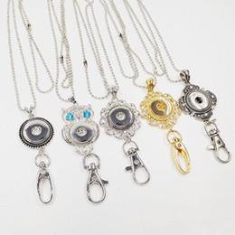 Wholesale Diy Metal Badges - 2017 Newest Wholesale Noosa Snap Keychain 18K Gold Lanyard Badge Work Documents Chunks Button DIY Fashion Jewelry