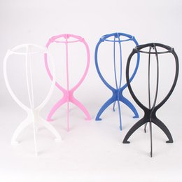 Wholesale White Black Hair Wig - Folding Plastic Wig Stand Stable Durable Hair Support Display Wigs Hat Cap Holder Tool Rosy Blue Black White Color Free Shipping