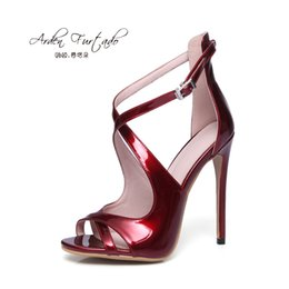 Wholesale Sexy Latex Dresses - 2017 summer plus size sandals high heels leather red white sexy Stiletto party shoes for woman thin heel customized any color