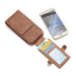 """Wholesale Iphone Leather Hip Case - 6.3"""" 5.5"""" 5.1"""" 4.7"""" Universal Leather Wallet Pouch Purse Phone Case Outdoor Tactical Holster Military Molle Hip Waist Belt Bag 3 Card Pocket"""