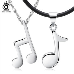 Wholesale Notes Necklace - Couple Necklace,Musical Note Design Stylish Pendant,925 Sterling Silver Material on 3 Layer Plated ON44
