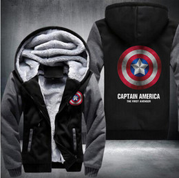 Wholesale Captains Coat - Winter Jackets and Coats Captain America hoodie Agents of SHIELD Hooded Fashion Thick Zipper Men cardigan Sweatshirts