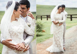 Wholesale Casual Country Wedding Dresses - Multicultural Lace Casual Western Country Wedding Dresses 2017 Long Sleeve Pearls Collar Sheath Beaded Applique Court Train Bridal Gowns