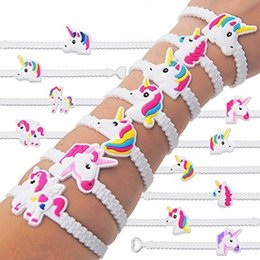 Wholesale Rubber Bracelets Free Shipping - New Fashion Colorful Unisex Unicorn Rubber Bracelet Wristband Bangle Birthday Party Home Jewelry Gift Free Shipping
