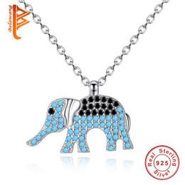 Wholesale Elephant Pendant 925 - BELAWANG 925 Sterling Silver Animal Necklace Elephant Pendant Necklaces Black&White Cubic Zircon Link Chain Women Jewelry Free Shipping 45cm