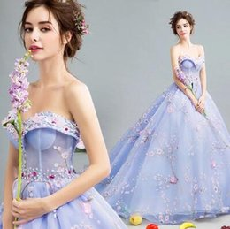 Wholesale Strapless Organza Embroidery Beaded Princess - Cheap Real Image Blue Sweetheart Lace Strapless Sweety princess Court Train Formal Luxury Evening Dress Party Prom Gowns Beading Lace Up