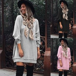 Wholesale Stylish Top Woman - 2017 Autumn New Stylish Long Sleeve Large Size Loose Top Blouse Casual Pure Color Pullover Hoodies for Fashion Women blcak color