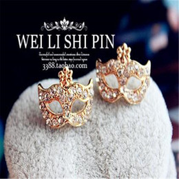 Wholesale Mask Piercing - Fashion Earings Lovely Crystal DHL Fox Mask Ear Stud Pierced Ears Korean Masquerade Flower Fox Earrings for Women Christmas Decoration Gift