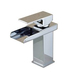 Wholesale Single Handle Chrome Wall Mounted - Wholesale- Free Shipping Polished Chrome Square Waterfall Spout Basin Sink Faucet Deck Mounted Single Handle with Hot and Cold Water