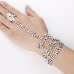 Wholesale Harness Cuffs - Fashion Multi-Layer Tassel Alloy Rhinestone Bracelet Cuff Hand Harness Chain Wedding Xmas Christmas Gift for girls