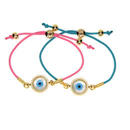 Wholesale evil eye gold plated - 2017 fashion jewelry pink blue rope string gold plated mother of pearl evil eye handmade women girl fashion adjust jewelry bracelet