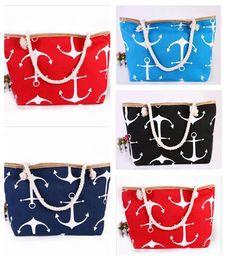 Wholesale Boat Handbag - Women Bags Boat Anchor Canvas Shoulder Bag Ladies Fashion Stripes New Messenger Bag Summer Beach Handbag Bags Totes 100pcs Free Shipping