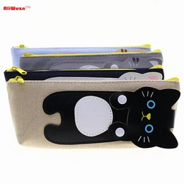 Wholesale Clear Pencil Cases Wholesale - Wholesale- Cute Creative Cartoon Cat Stationery Pencil Case Canvas Material Rectangle Pen Bag High Grade Gifts Student Stationery Office