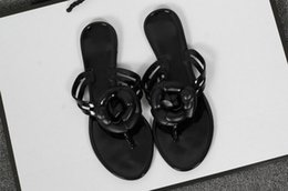 Wholesale Jelly Sandals Flower - 2017 Summer New Camellia Slippers Women Crystal Flower Flip-Flops Sandals Flat Jelly Shoes Sandals
