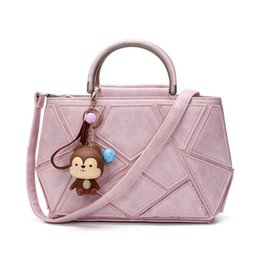 Wholesale Cute Hand Bags - Luxury Black Pu Leather Handbag Women Bag Designer Handbags High Quality Cute Monkey Women Famous Brand Tote Crossbody Hand Bag