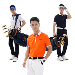 Wholesale Mens Tennis Clothing - PGM Brand Mens Outdoor Fit Golf Short-sleeve Polo Shirts Quick Dry Short Sleeve Golf Collar T-shirts Table Tennis Clothing 2513033