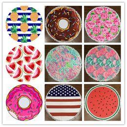 Wholesale Pie Designs - 9 Designs Round Polyester Beach Shower Towel Blanket Yoga Towel Pineapple Pie Watermelon Towel Rose Flag Shell