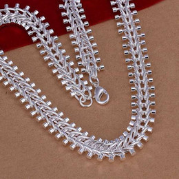 Wholesale Gold Filled Collar - silver necklace fashion jewelry chain fish bone necklaces & pendants women men collar
