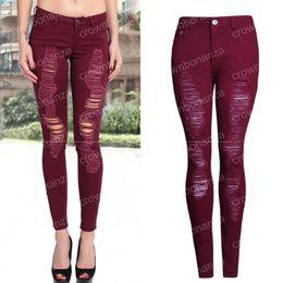 Wholesale Burgundy Skinny Jeans - Women Vintage Burgundy Sexy Ripped Jeans Ladies Pencil Stretch Denim Pants femininity High Waist Jeans Skinny Trousers Jeans