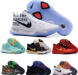 Wholesale Cheap Purple Ties - New Cheap Kyrie 3 Irving Glod Tie Dye Bhm Men Basketball Shoes Black Ice White Chrome Crossover Cavs Kyrie Irving 3s Sports Sneakers