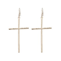 Wholesale Ethnic Crosses - Trendy ethnic big cross long earrings for women gold and silver plated dangle earrings jewelry wholesale women accessories