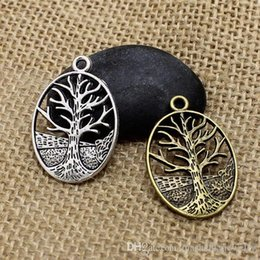 Wholesale Antique Mic - Hot New 24*35mm MIC Antique Silver Family Tree Of Life Charms Pendants Jewelry DIY CP287