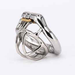 Wholesale Catheter Sizes - Super Small Male Chastity Cage Stainless Steel Chastity Belt Penis Restraint with 4 size Arc Base Activities Lock Ring