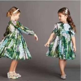 Wholesale Bohemia Silk Dress - New Brand Big Girls Dresses Bohemia Floral Printed Silk Children Dress Autumn Flower Dragonfly Girl High Quality Party Dress Green A7055