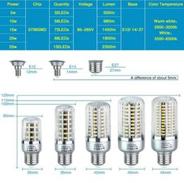 light grey rooms Promo Codes - E27 E14 E12 Led Corn Lamp SMD5736 25W 20W 15W 10W 5W High Power Lampada Led For Hotel Kitchen Led Lighting 85-265V