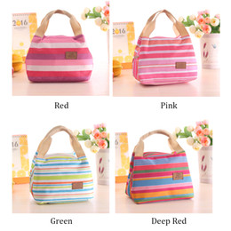 Wholesale Portable Vaccum - Lunch Totes Bag Thermal Insulated Portable Cool Canvas Stripe Carry Case Picnic high quality 010232