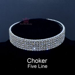 Wholesale Dancing Set - Chokers Jewelry Sets Necklace Torque Rhinestone Swarovski Crystal Silver Plated Hard Body Sexy Dance Jewelry 5 Or 6 Row Ch0001