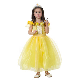 Wholesale Costume Beast - Wholesale Kids Children Belle Beauty and the Beast Princess Costume Party Tutu Baby Girls Formal Christmas Gift