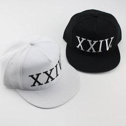 Wholesale Plain White Snapback Hats - Bruno Mars Hat Snapback Hip Hop XXIV Baseball Caps New Arrival Letter Man Plain Adjustable Snapback Hats Caps Black White