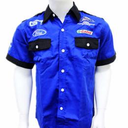 Wholesale Ford Single - Wholesale- Men F1 shirt ford shirt car logo moto gp motorcycle shirt blue