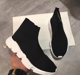 Wholesale Women High Heels Sneakers - Fashion Brand Unisex Casual Shoes Flat Socks Boots Woman New Slip-on Elastic Cloth Speed Trainer Runner Man Shoes Sneakers High Quality36-44