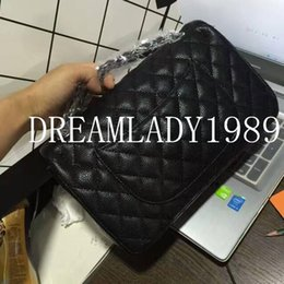 Wholesale American Black Caviar - Fashion 25.5cm Small Black Quilted Caviar Leather Silver Chain Shoulder Double Flap Bag