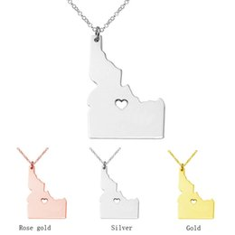 Wholesale Stainless Steel Id Necklace - Idaho Map Stainless Steel Pendant Necklace with Love Heart USA State ID Geography Map Necklaces Jewelry for Women and Men