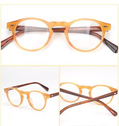 Wholesale Import Case - Hot-sale retro-vintage fashion Gregory Peck round glasses frame imported pure-plank with case prescription galssses freeshipping