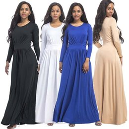 Wholesale long sleeved peplum dresses - M-3XL Plus Size Womens Fashion Casual Loose Long Sleeved Maxi Dresses Cocktail Party Evening Clubwear Dress Solid Color
