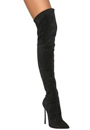 Wholesale Thigh Stretch Red Boots - Botas Mujer 2017 Fashion Pointed Toe Long Stretch Booties Cuissard Over The Knee Boots Stiletto High Heels Faux Suede Thigh High Boots Women